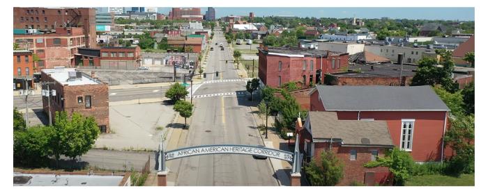 Aerial image of the Michigan Street African American Heritage Corridor