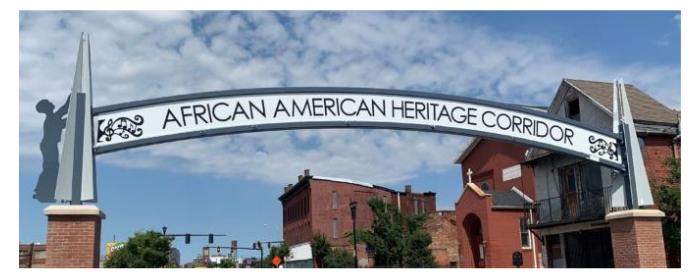 African American Heritage Corridor Sign