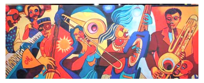 Colorful painting of musicians by playing jazz instruments by William Y. Cooper