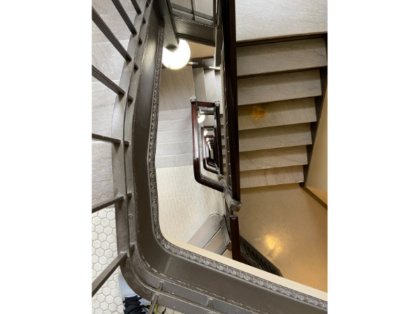 Looking down at a tall staircase inside the electric tower, Buffalo NY
